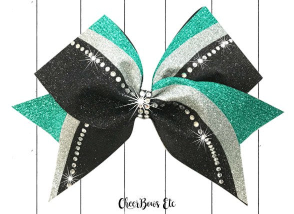 Teal Silver & Black Rhinestone Switch Kick cheer bow