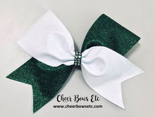 Load image into Gallery viewer, Tick Tock Cheer Bow White and Hunter Green