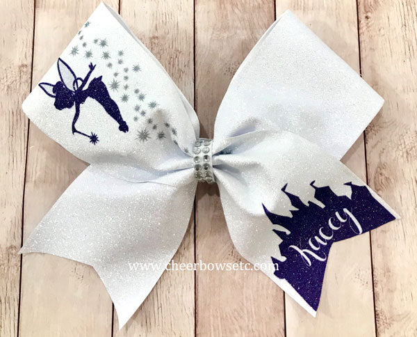 TinkerBell bow white glitter & purple