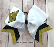 Load image into Gallery viewer, Collegiate Letter Bow with double glitter chevrons gold and black