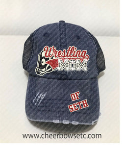 Wrestling Mom Denim Hat-Flock, Glitter & Rhinestones