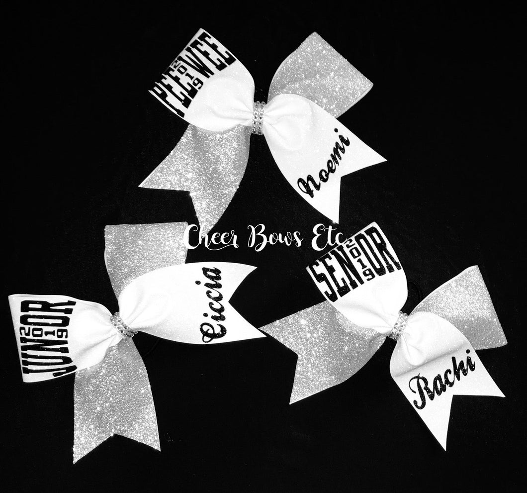 Pee Wee, Junior & Senior all glitter tick tock cheer bows
