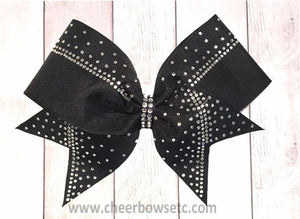 black grosgrain cheer bow with rhinestone crystals