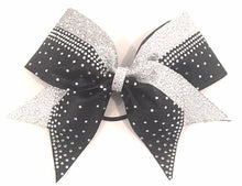Load image into Gallery viewer, Black & Silver Glitter Cheerleading Bow