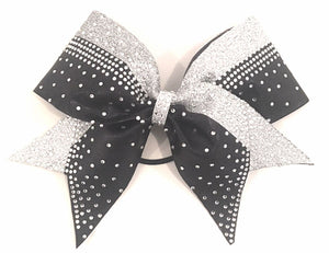 Black & Silver Glitter Cheerleading Bow