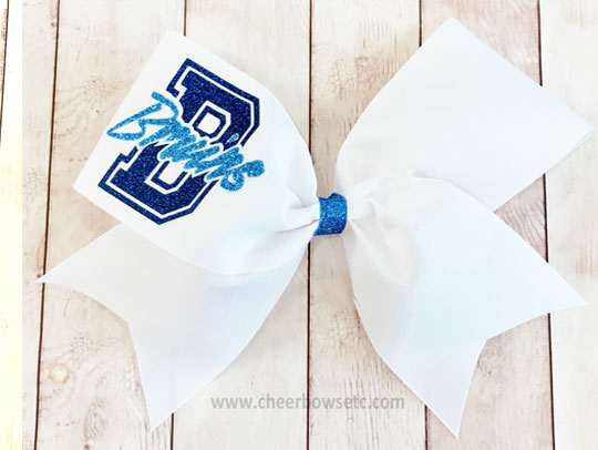 collegiate cheerleading bow white, navy and columbia blue
