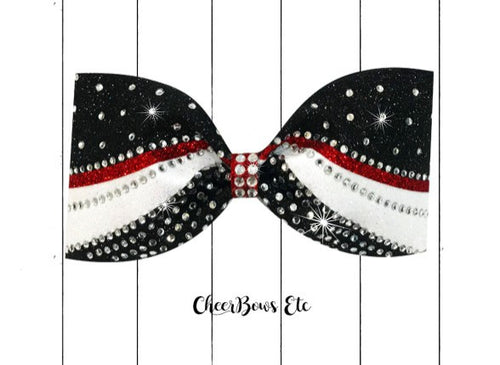 red black and white sparkle tailless cheer bow