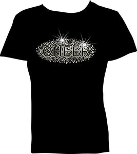 Rhinestone Heat Transfer-Cheer Tee Shirt Design example for a shirt