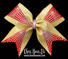 Load image into Gallery viewer, cheerleading bow in red and gold glitter with sparkly rhinestones