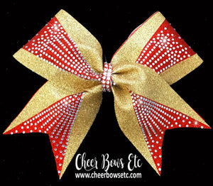 cheerleading bow in red and gold glitter with sparkly rhinestones