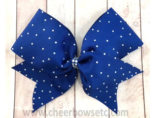royal blue rhinestone school cheerleading hair bow