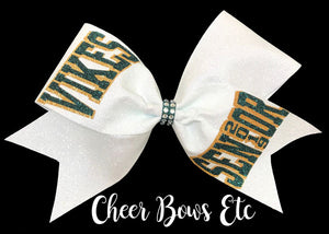 White Glitter Bow with hunter Green and Gold team lettering, Vikings