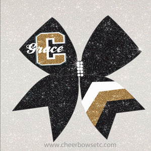 Chevron Bow Gold Black & White School Cheerleading Hair Bow