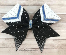 Load image into Gallery viewer, chevron columbia blue black and white cheer bow