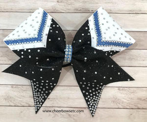 chevron columbia blue black and white cheer bow