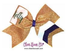 Load image into Gallery viewer, gold, white , emerald and navy personalized cheer bow