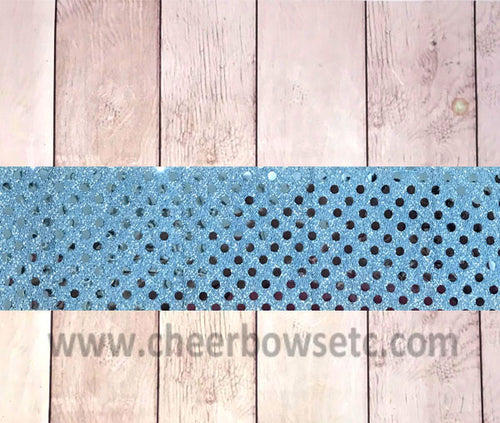 Columbia Blue Sequins Iron On Bow Strip
