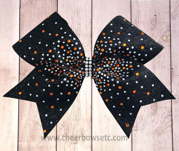 Black glitter cheer bow with topaz and crystal rhinestones