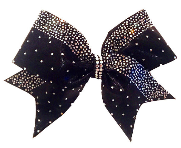 Black Rhinestone Cheerleading Bow