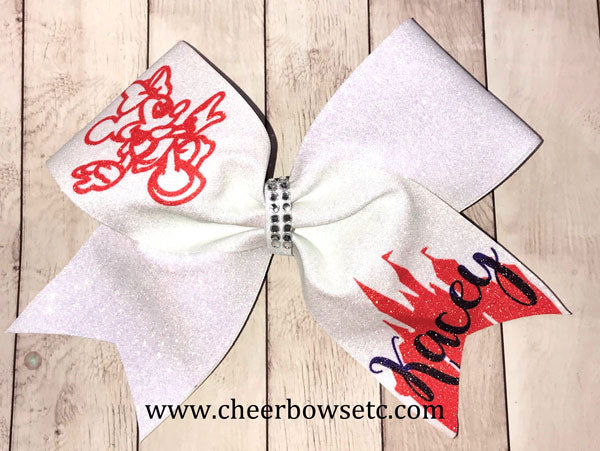 Orange & White Glitter Bow