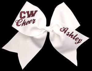 Personalized white cheerleading bow