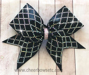 Diamond Material Girl Cheerleading Bow in black with crystal AB stones
