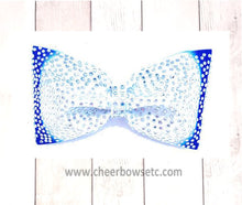 Load image into Gallery viewer, Royal Blue and White Tailless Cheer Bow