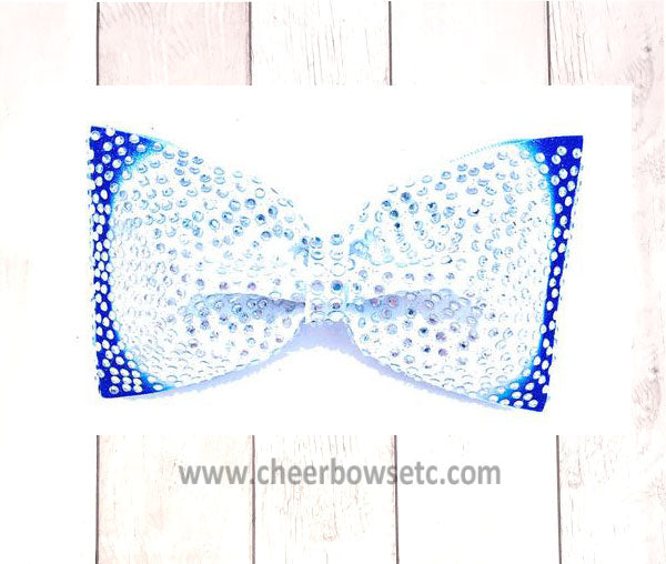 Royal Blue and White Tailless Cheer Bow