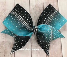 Load image into Gallery viewer, Stunning Dye Sublimation Rhinestone bow in Teal and Black