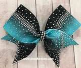 Stunning Dye Sublimation Rhinestone bow in Teal and Black