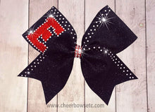 Load image into Gallery viewer, Custom Logo Over The Top Glitter Bow with Trim