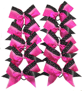 Berry Pink and black team cheerleading hair bows