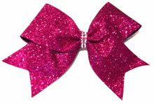 Load image into Gallery viewer, Hot Pink Cheer Bow in glitter