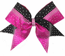 Load image into Gallery viewer, Berry Fuchsia Rhinestone Cheerleading Hair Bow