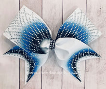 Load image into Gallery viewer, Royal Blue and Columbia blue bow for cheerleading