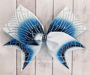 Royal Blue and Columbia blue bow for cheerleading