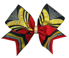 Load image into Gallery viewer, black gold red glitter rhinestone cheer bow