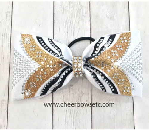 gold, black and white glitter girl power tailless cheer bow