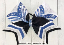 Load image into Gallery viewer, Custom Cheerleading Hair Bow in columbia blue, black & white glitter with sparkly rhinestones