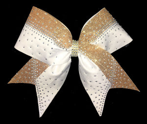 Gold and white Pristine Rhinestone Bow