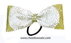 Gold and white tailless cheer bow