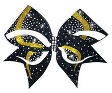 Load image into Gallery viewer, Yellow gold and white glitter Infinity competition cheerleading bow