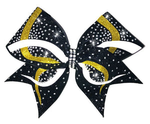 Yellow gold and white glitter Infinity competition cheerleading bow