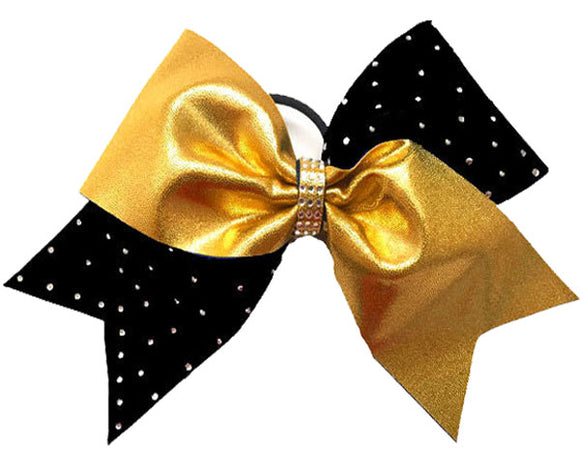 Gold and Black Cheerleading Bow