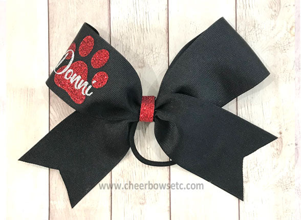 Personalized Paw Print Cheer Bow black and red