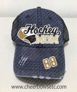 Hockey Mom Denim Hat-Flock, Glitter & Rhinestones