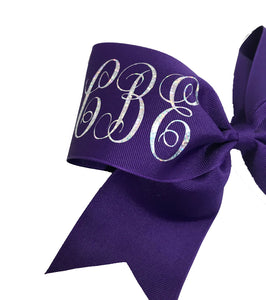 monogram purple and silver bow