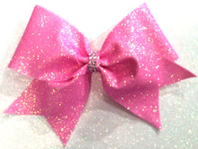 Load image into Gallery viewer, holo pink glitter cheerleading hair bow