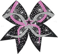Load image into Gallery viewer, Hot Pink 3D Star Bow with silver and black accents