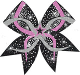 Hot Pink 3D Star Bow with silver and black accents